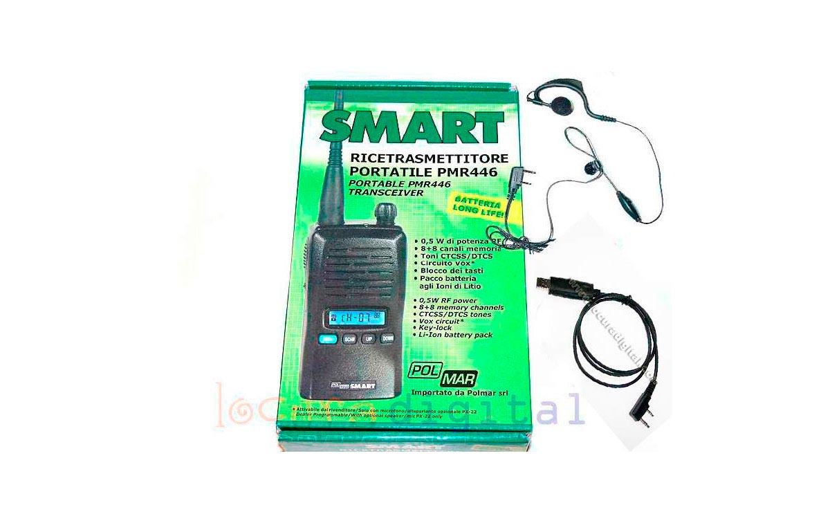 WALKIE  POLMAR SMART-PC + CABLE DE PC PARA PROGRAMAR POR ORDENADOR POR USB, + REGALO DE UN PINGANILL